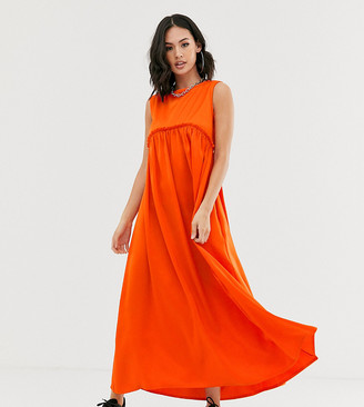 Another Reason maxi volume smock dress with frill seam-Orange