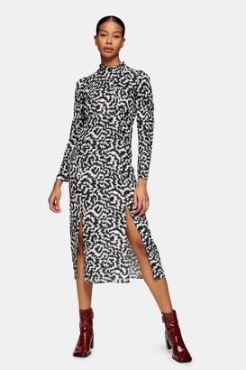 Topshop Womens Black And White Animal Print High Neck Maxi Dress - Monochrome