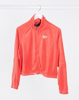 Nike crop retro terry towelling track jacket in red