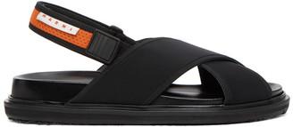 Marni Black and Orange Fussbett Sandals