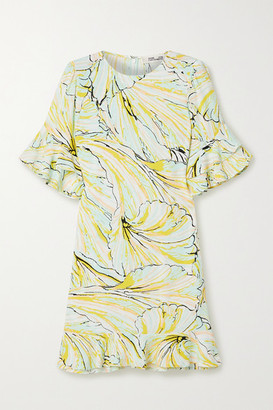 Diane von Furstenberg Tatum Ruffled Printed Crepe Mini Dress - Pastel yellow
