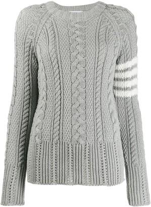 Thom Browne 4-Bar Aran Knit Jumper