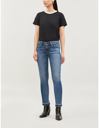 Rag & Bone Ladies Blue Cotton Embroidered Dre Low-Rise Cropped Skinny Jeans, Size: 23