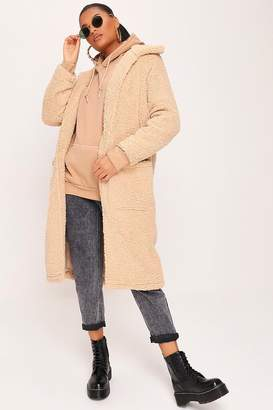 I SAW IT FIRST Stone Long Line Shaggy Fleece Jacket
