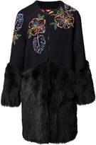 Matthew Williamson Maracas Montage Fur Trim Coat