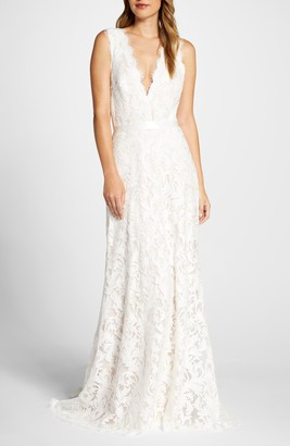 Tadashi Shoji Deep V-Neck Lace Trumpet Wedding Dress