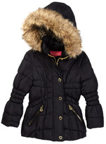 Catherine Malandrino Faux Fur Trimmed Hooded Bubble Jacket (Big Girls)