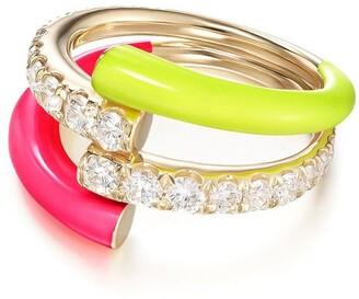 Melissa Kaye 18kt yellow gold and diamond Lola Double ring