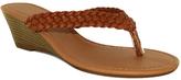 Fashion Focus Cognac Braided Kava Wedge Sandal
