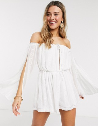 In The Style exclusive bardot lace embroidered swing playsuit in white