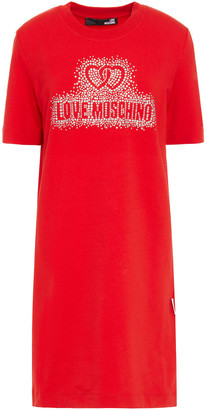 Love Moschino Crystal-embellished French Cotton-blend Terry Mini Dress