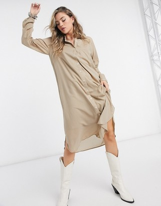 Vero Moda midi shirt dress in tan