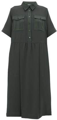 Rochas Satin-trim Crepe Midi Shirtdress - Womens - Green