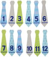 Pearhead Pear Head Felt Necktie First Year Monthly Milestone Photo Sharing Baby Belly Stickers, 1-12 Months (Blue, Green, Gray)