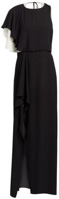 Halston Draped Georgette Split-Sleeve Gown