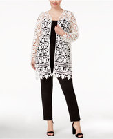 Alfani Plus Size Lace Topper Jacket, Created for Macy's