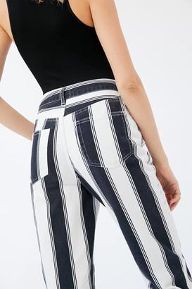 BDG High-Waisted Mom Jean Black + White Stripe