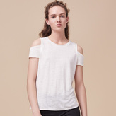 Maje Linen off-the-shoulder T-shirt