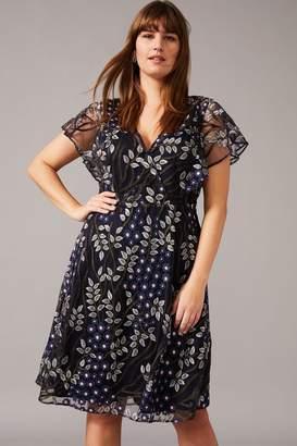 Studio 8 Womens Blue Ida Embroidered Dress - Blue