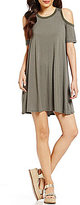 Soprano Striped Cold Shoulder Shift T-Shirt Dress
