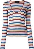 DSQUARED2 scoop neck striped T-shirt - women - Polyamide/Polyester/Viscose - XS