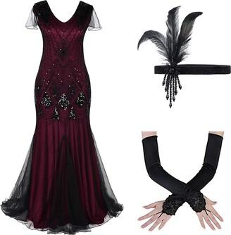 OBEEII Womens 1920 Art Deco Sequin Paisley Flapper Nappa Glam Party Dress 2XL