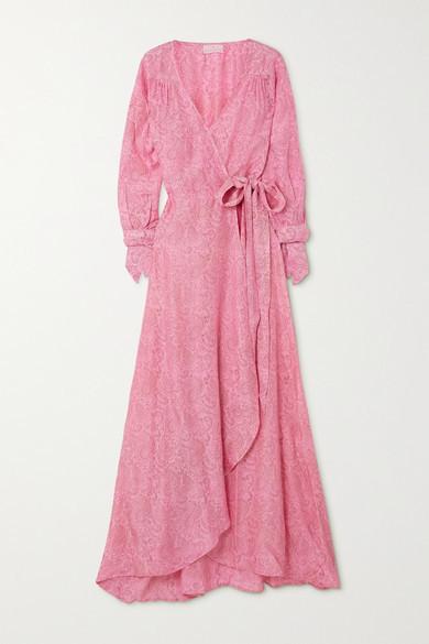 HANNAH ARTWEAR Net Sustain Luna Paisley-print Silk Crepe De Chine Wrap Maxi Dress - Pink