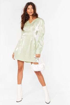 Nasty Gal Womens Shimmer Over Here Mini Shirt Dress - Sage