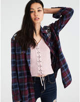 American Eagle AE EMBROIDERED SHINE PLAID BUTTON-DOWN SHIRT