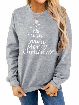 YNALIY Womens Long Sleeve Sweatshirt We Wish You A Merry Christmas Letter Print Festival Party Tops Gray