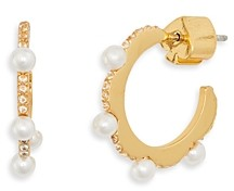 Kate Spade Pave & Imitation Pearl Huggie Hoop Earrings