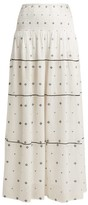 Anaak - Jaisalmer Diamond-jacquard Maxi Skirt - Womens - White Print