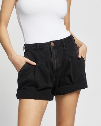 One Teaspoon ONETEASPOON - Women's Black Denim - Streetwalker High Waist 80s Shorts - Size 24 at The Iconic