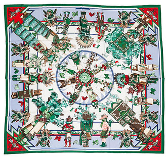 "One Kings Lane Vintage Hermes 55"" Cashmere Kachinas Shawl - Vintage Lux - green/blue/white"