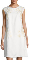 Neiman Marcus Embroidered Linen-Blend Shift Dress, White
