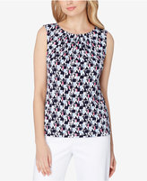 Tahari ASL Geo-Print Pleated Shell