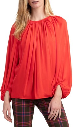 Trina Turk Ali Draped Silk-Blend Blouse