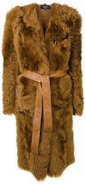 Rochas belted lamb fur coat - women - Lamb Skin/Lamb Fur - 40