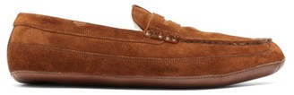 Grenson Sly Suede Penny Slippers - Mens - Brown