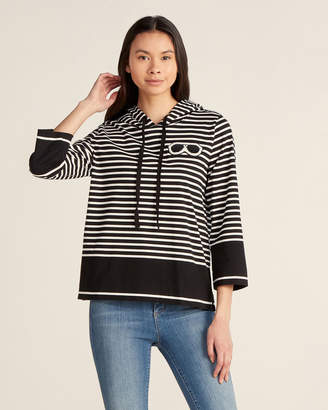 Karl Lagerfeld Paris Black & White Stripe Patch Hoodie