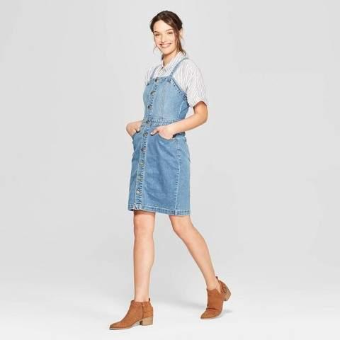 67a175b942 Universal Thread Women's Sleeveless Scoop Neck At Knee Apron Denim Dress -  Universal Thread Light Blue