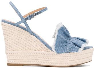 Sergio Rossi Denim Ruffle Front Espadrille Sandals