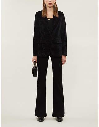 Frame Snakeskin-print velvet blazer