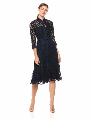 Nanette Lepore Nanette Women's 3/4 SLV Lace Shirt Dress W/Flounce Hem