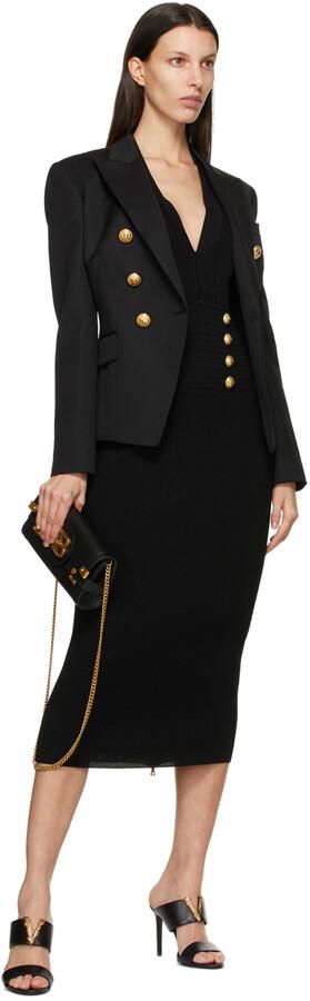 Thumbnail for your product : Balmain Black V-Neck 8-Button Dress