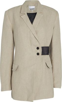 Ganni Asymmetrical Linen Blazer