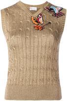 RED Valentino hummingbird embroidered metallic jumper - women - Acrylic/Polyamide/Viscose/Metallic Fibre - S