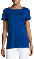 St. John Sleek Viscose Jersey Crystal-Trim Tee