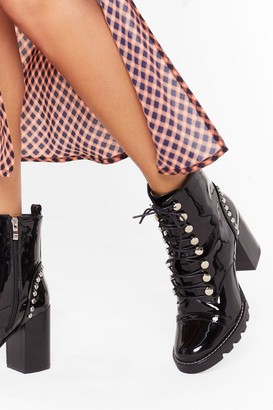 Nasty Gal Womens Stand Back Studded Heeled Boots - Black