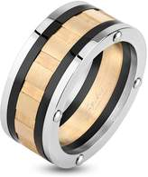 Spikes Three Toned Bolted Stainless Steel Ring with Grooved Center